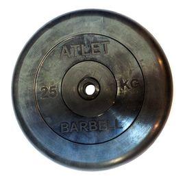 Диск обрезиненный, чёрного цвета, 26 мм, 25 кг  Atlet