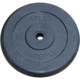 Диск обрезиненный, чёрного цвета, 26 мм, 10 кг  Atlet