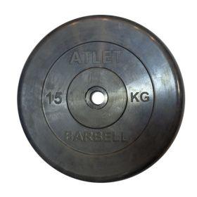 Диск обрезиненный, чёрного цвета, 26 мм, 15 кг  Atlet