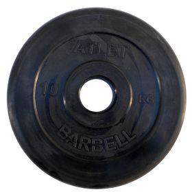 Диск обрезиненный, чёрного цвета, 51 мм, 10 кг  Atlet