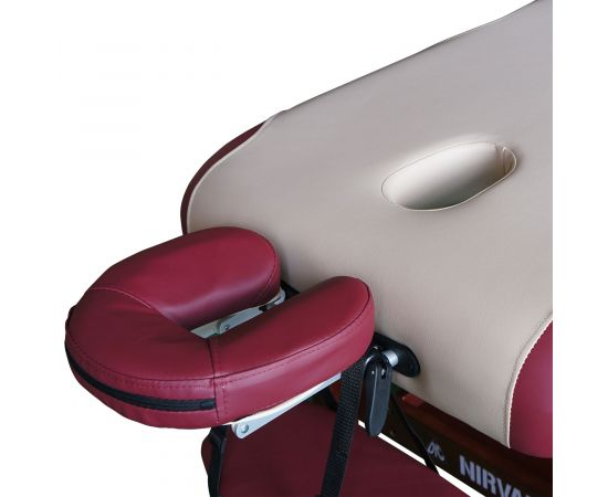 Массажный стационарный стол DFC NIRVANA, SUPERIOR, дерев. коричн. ножки, 1 секция, цвет беж.с вин.
